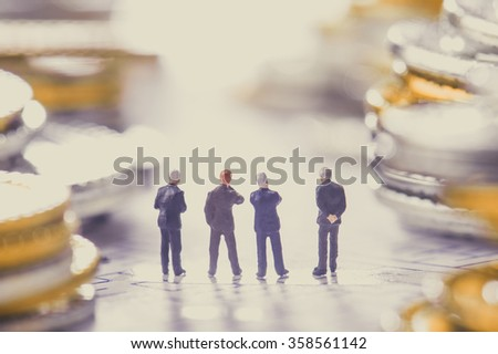Businessman walking on the road,a lot of money - stock photo