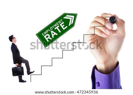 Businessman walking on the stairs with upward arrow and employment rate text, isolated on white background