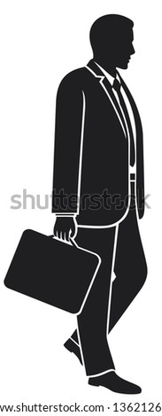 businessman walking with his briefcase (man walking with briefcase) - stock photo