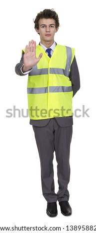 Businessman Wearing Security Jacket Showing Stop Sign Isolated Over White Background