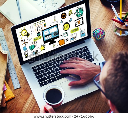 Businessman Web Design Digital Deviecs Working Concept - stock photo