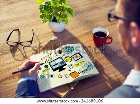Businessman Web Design Planning Working Concept - stock photo