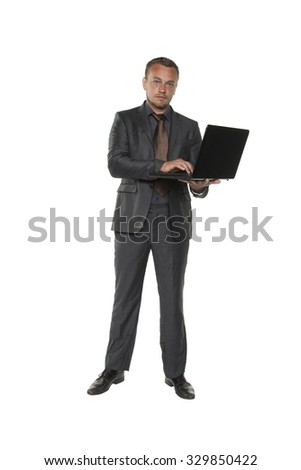 businessman whit laptop