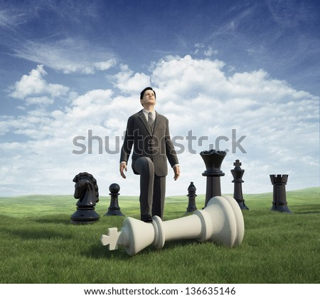 Businessman winner. chess - stock photo