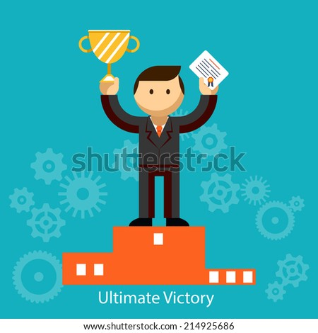 Businessman winner standing in first place on a podium holding up an award certificate and trophy as he celebrates his victory illustration - stock photo