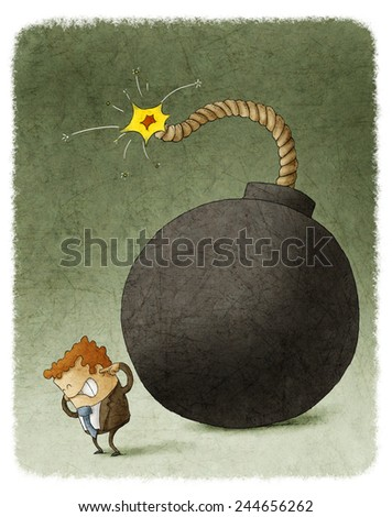 businessman with a bomb behind - stock photo