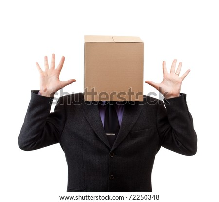 Businessman with a brown box on his head, in white - stock photo