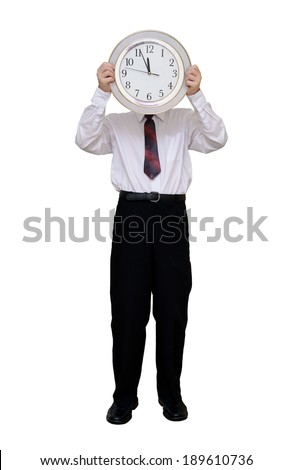 Businessman with a clock instead of a head (with clipping path) - stock photo