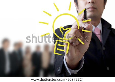 Businessman with a creative idea - stock photo