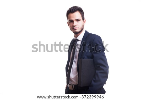 Businessman with a folder over white background in studio photo