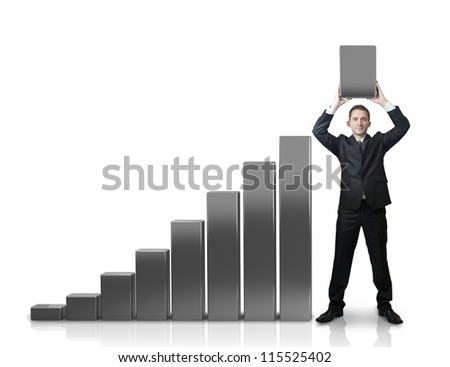 Businessman with a graphic growing up - stock photo
