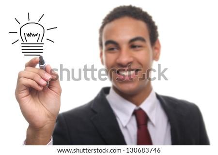Businessman with a lightbol Diagram - stock photo