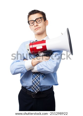 businessman with a megaphone - stock photo