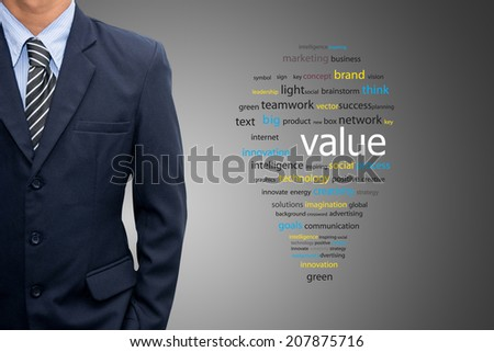 Businessman with a new value - stock photo