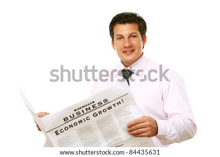 Businessman with a newspaper isolated on white background - stock photo