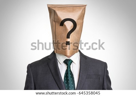 Businessman with a paper bag on the head - with question mark