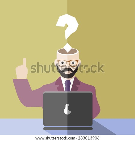 businessman with a question mark in front of the computer - stock photo