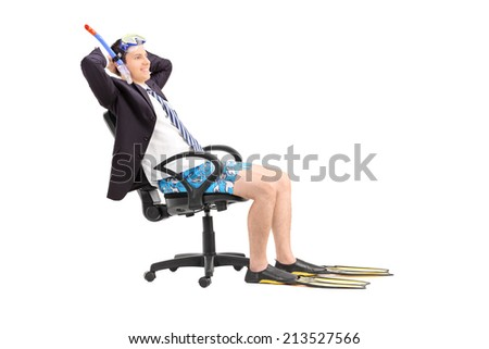 Businessman with a snorkel relaxing in an office chair isolated on white background - stock photo