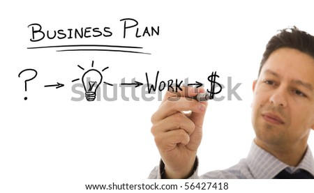 Businessman with a strategy plan to be successful in his business - stock photo