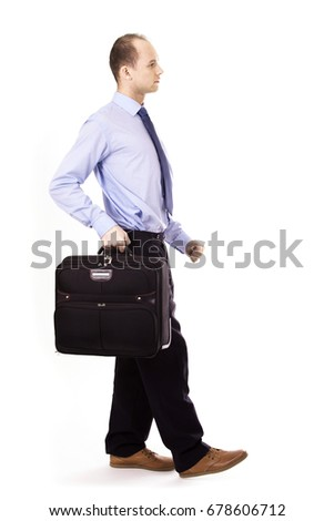 Businessman with a suitcase, business travel concept