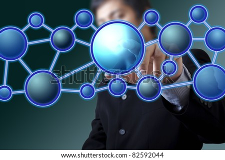 Businessman with a touch screen - stock photo