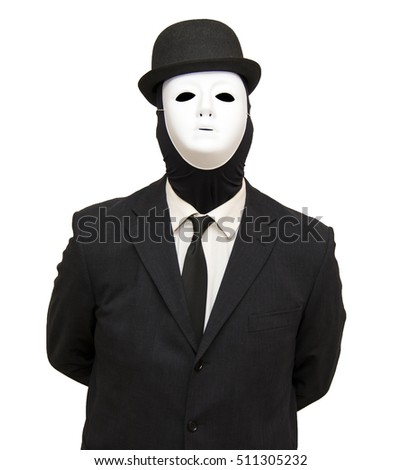 Businessman with a white mask and a hat on white background