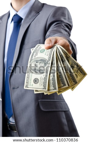 Businessman with american dollars - stock photo