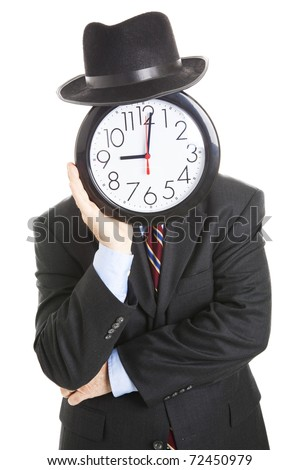Businessman with an anonymous clock face, leaning on his hands in a bored posture.  Isolated on white. - stock photo