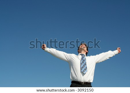 Businessman with Arms Outstretched