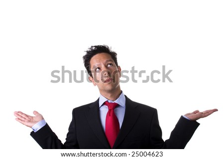 businessman with arms up and open hands looking to the copy space (isolated on white) - stock photo