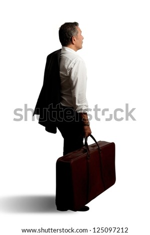 Businessman with bag on isolated background - stock photo