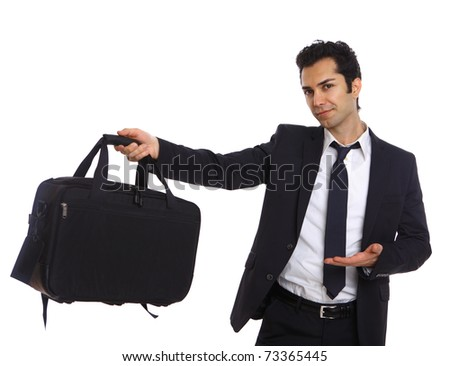 Businessman with bag presenting to the camera - stock photo
