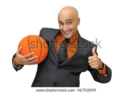 Businessman with basket ball isolated in white - stock photo