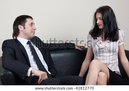 businessman with beauty secretary in office