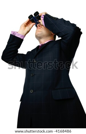 Businessman with binoculars looking up, isolated. - stock photo
