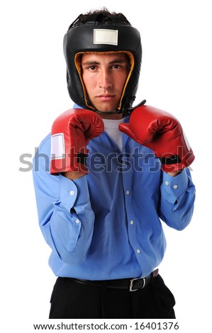 Businessman with boxing gloves isolated over a white background - stock photo