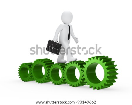 businessman with briefcase go on green gear - stock photo
