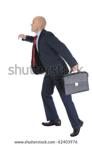 Businessman with briefcase in hand, runs up the career ladder. Isolated on white background - stock photo
