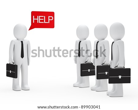 Businessman with briefcase need help red billboard