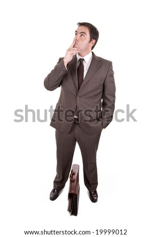 Businessman with brown classic case - thinking expression . Isolated on white - stock photo