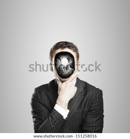 businessman with bubl and gears in head