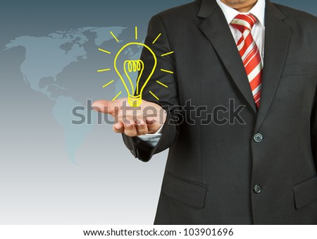 Businessman with bulb