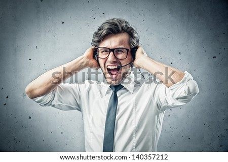 businessman with burnout syndrome - stock photo