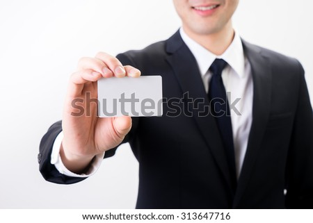 businessman with business name card , contact us concept - stock photo