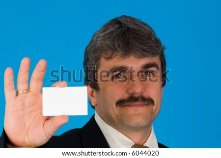businessman with businesscard - stock photo