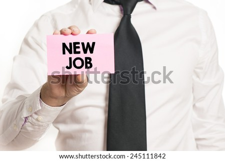 Businessman with. Businessman holding paper with new job text isolated over white background - stock photo