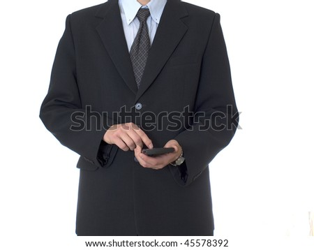 BUSINESSMAN with Calculator on white isolated background