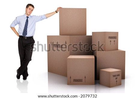 Businessman with Cardboard Boxes Over a White Background - stock photo