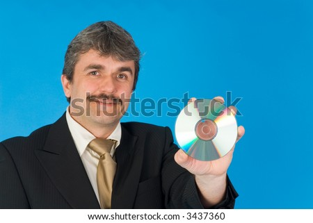 businessman with cd-r - stock photo