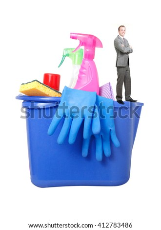 Businessman with cleaning products on white - stock photo